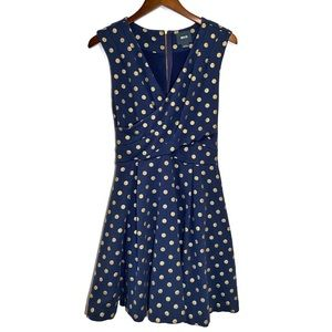 ANTHRO Maeve Small Navy & Gold Polka Dot Dress